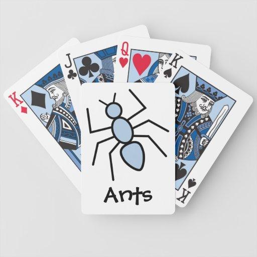 Hormiga del vector del azul de cielo baraja cartas de poker