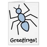 Hormiga del vector del azul de cielo felicitaciones
