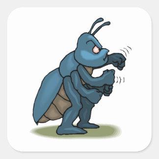Hormiga enojada calcomanías cuadradas