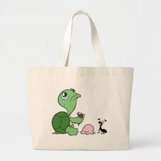 Hormiga feliz de la tortuga triste bolsa tela grande