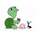 Hormiga feliz de la tortuga triste postales