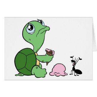 Hormiga feliz de la tortuga triste tarjeta de felicitación
