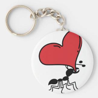 Hormiga grande del corazón, porciones de hormiga d llavero redondo tipo pin