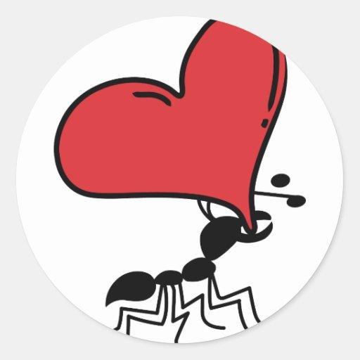 Hormiga grande del corazón, porciones de hormiga pegatina redonda