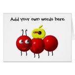 Hormiga linda con la manzana tarjeta de felicitación
