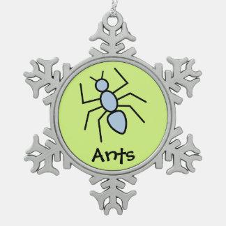 Hormiga linda del vector del azul de cielo (fondo  adorno de peltre en forma de copo de nieve