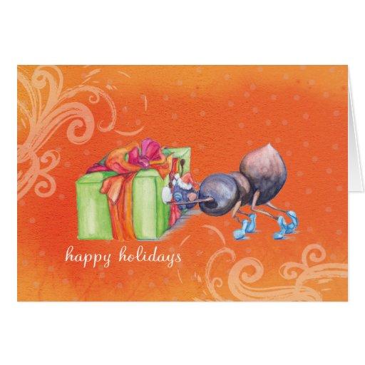 Hormiga que empuja el regalo de Navidad Tarjeta De Felicitación
