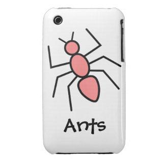Hormiga roja del vector de la amapola iPhone 3 carcasas
