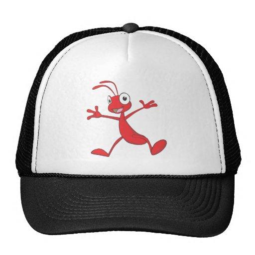 Hormiga roja feliz que salta para la alegría gorras