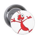 Hormiga roja feliz que salta para la alegría pin