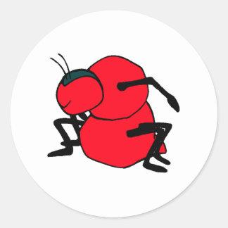 Hormiga roja etiquetas redondas