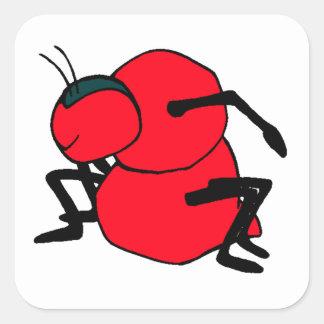 Hormiga roja calcomania cuadradas personalizada