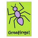 Hormiga violeta del vector (fondo del verde de felicitación