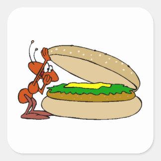 Hormiga y cheeseburger calcomanías cuadradass