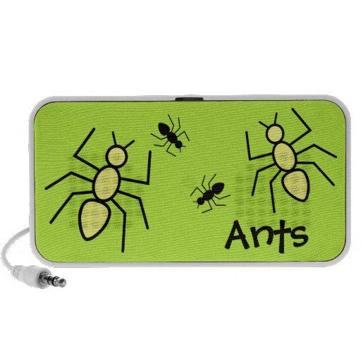 Hormigas amarillas y negras del vector - fondo del notebook altavoces