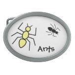 Hormigas amarillas y negras del vector hebilla de cinturon oval