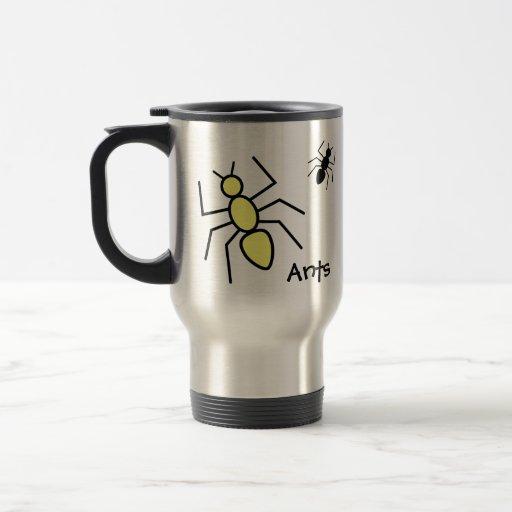 Hormigas amarillas y negras del vector taza de viaje