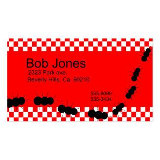 Hormigas blancas rojas del tablero de damas tarjetas de visita
