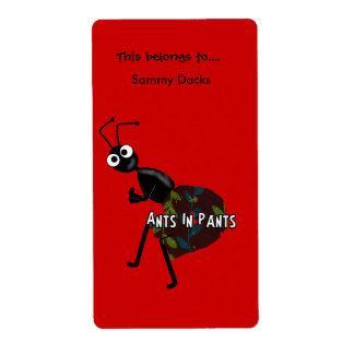 Hormigas del Bookplate de los pegatinas de las eti Etiqueta De Envío