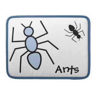 Hormigas del vector del azul y del negro de cielo fundas para macbooks