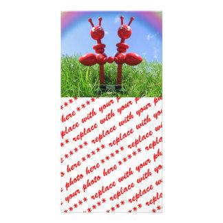 Hormigas en la hierba tarjetas personales con fotos