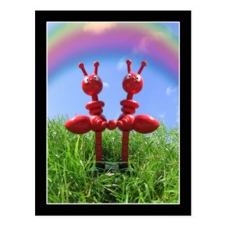 Hormigas en la hierba tarjeta postal