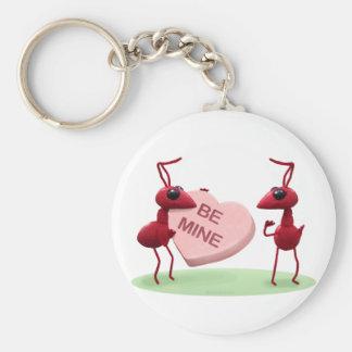 Hormigas lindas del día de tarjetas del día de San Llavero Redondo Tipo Pin