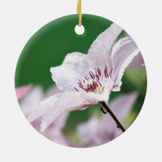 Hormigas que suben para arriba una flor rosada en adorno redondo de cerámica