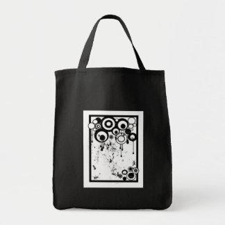 Hormigas y círculos - negro y blanco bolsa tela para la compra