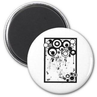 Hormigas y círculos - negro y blanco imán de frigorífico
