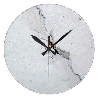 Hormigón agrietado reloj redondo grande