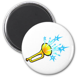 Horn abstract with stars coming out of the bell fridge magnet