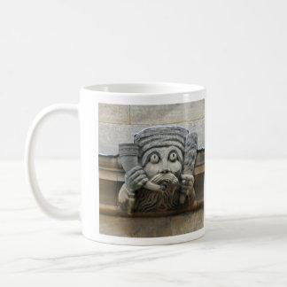 Horn-blowing gargoyle mug