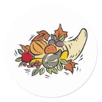 Horn o' plenty Thanksgiving Design Classic Round Sticker