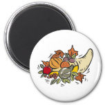 Horn o' plenty Thanksgiving Design 2 Inch Round Magnet