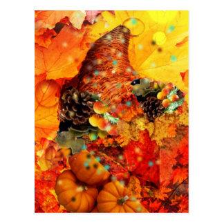 Horn of plenty in Thanksgiving Postcard