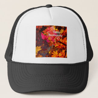 Horn of plenty with flowers to Thanks Trucker Hat