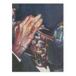 horn player postcard