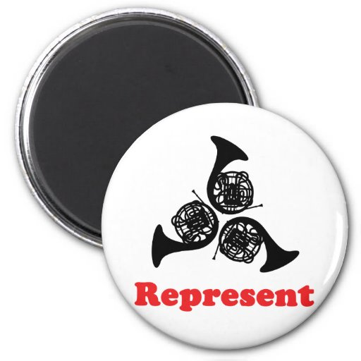 Horn Represent 2 Inch Round Magnet