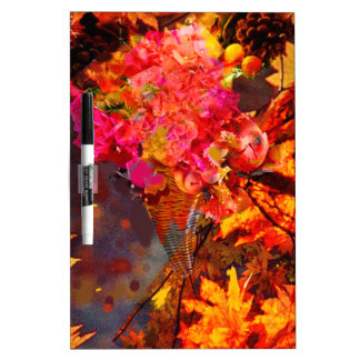Horn with flowers to Thanksgiving Dry-Erase Board