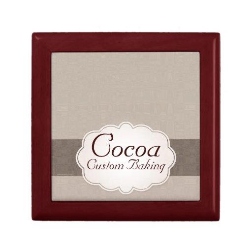 Hornada de encargo del cacao cajas de recuerdo