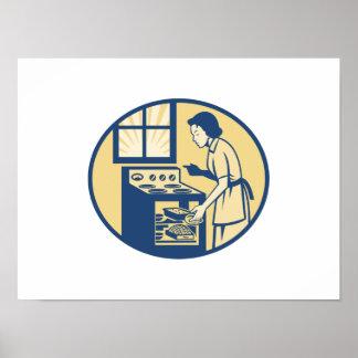 Hornada del panadero del ama de casa en la estufa  posters