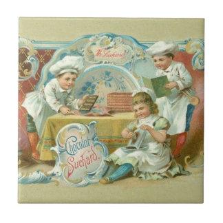 Hornada del vintage con la publicidad del chocolat azulejo cuadrado pequeño