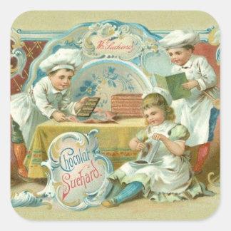 Hornada del vintage con la publicidad del pegatinas cuadradases personalizadas
