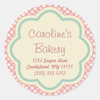 Hornada y boutique de la panadería, lunar rosado pegatina redonda