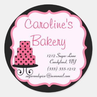 Hornada y boutique de la panadería, negro y rosa pegatina redonda
