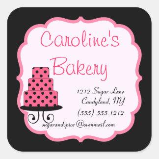 Hornada y boutique de la panadería, negro y rosa calcomanía cuadradas personalizada