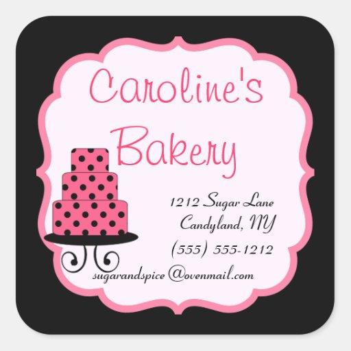 Hornada y boutique de la panadería, negro y rosa pegatina cuadrada