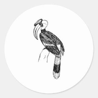 Hornbill Bird Art Round Sticker