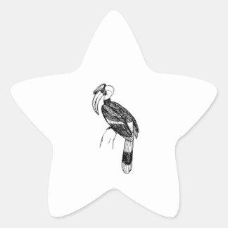 Hornbill Bird Art Star Sticker
